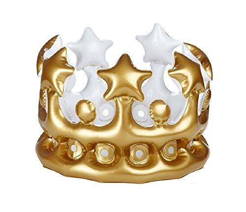 Sonnenscheinschuhe® Aufblasbare Krone Gold Karneval Fasching König Königin Verkleidung