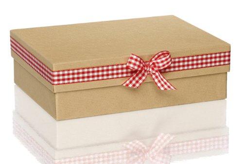 Rössler 1348327000 - kartonnen doos met strik, afmetingen: 19.5 x 26.5 x 8 cm, naturel