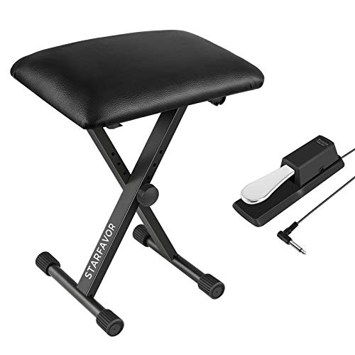 Starfavor Piano Keyboard Bench with Universal Sustain Pedal Bundle, Adjustable X-Style Stool Chair Seat, 5.5 Feet Cable with 1/4 inch Plug Foot Pedal for Electronic Keyboards & Digital Pianos