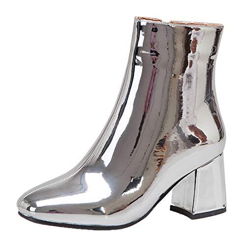 MISSUIT Damen Chunky Heels Ankle Boots Lack Stiefeletten High Heels Blockabsatz Boots Reißverschluss Winterstiefel(Silber,38)