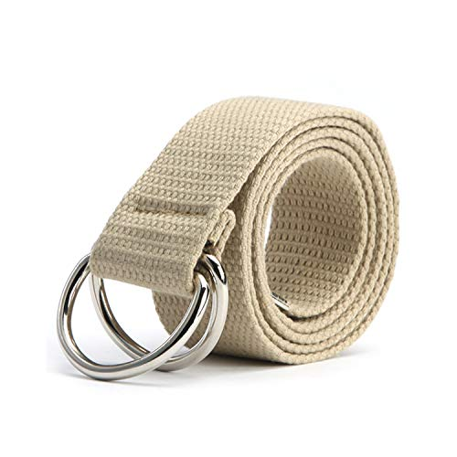 Hüftgurt, Trendy Fashion Belt 10 Color Ladies Men's Canvas Double Ring Buckle Casual Wild Woven Belt kahki