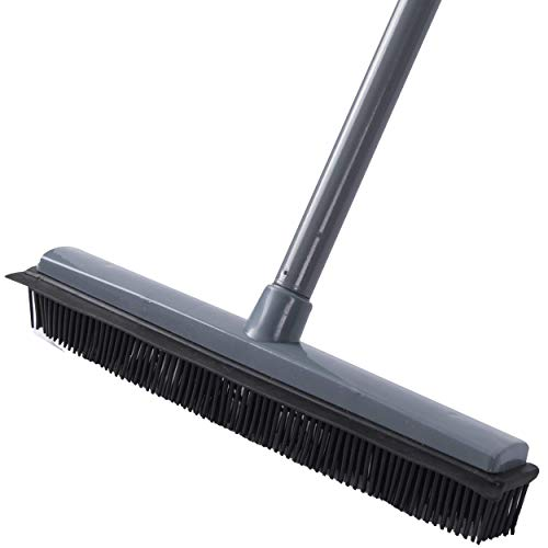 LCF Rubber Broom Carpet Rake Pet Cat Dog Hair Remover Broom with Squeegee 2in1 Floor Brush for Carpet 48.8inch Long Handle Household Push Broom Carpet Sweeper Rake Floor Brush Hardwood Tile Floor,Grey