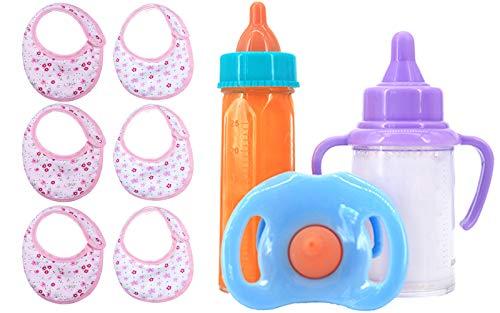 ZWOOS Biberones Mágicos y Baberos para Muñecas, Biberones de Leche y Jugo simulados con Chupete, Accesorio de Alimentación para Muñecas Bebé