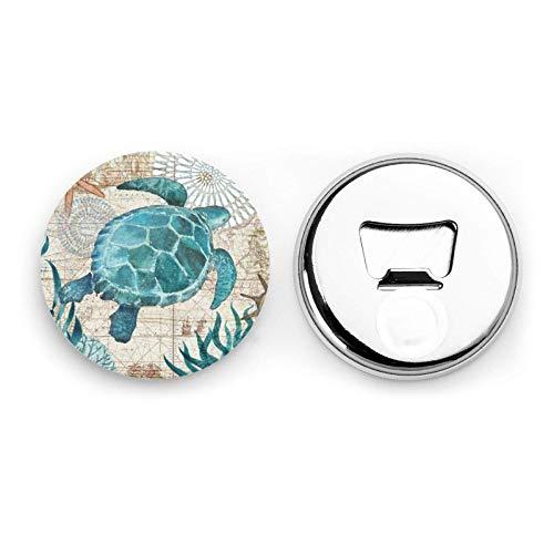 Abridores de botellas redondos de estrella de mar de tortuga marina / imanes de nevera Etiqueta magnética de acero inoxidable 2 piezas