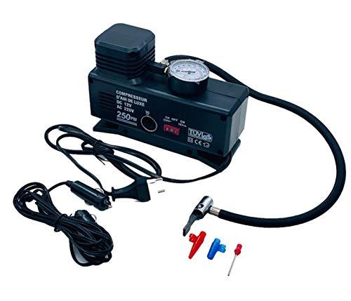 Partenopeautensili® Mini Compressore Portatile per Canotti gonfiabili palloni 12V 220V Auto Bici Moto AC/DC Completo del Cavo per accendisigari by Wisdom