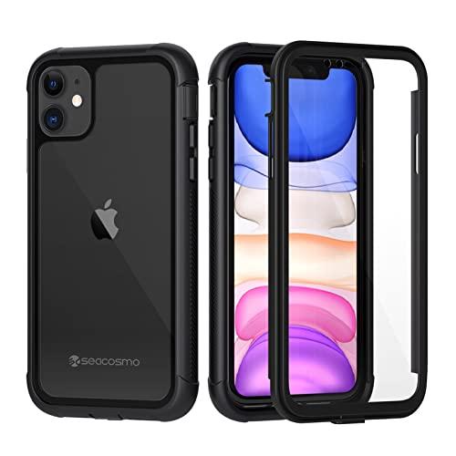 seacosmo iPhone 11 Hülle, Stoßfest Handyhülle iPhone 11 360 Grad Rugged Hülle mit eingebautem Bildschirmschutz für iPhone XI, Schwarz