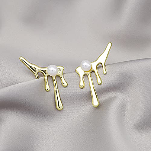 XAOQW 925 Pendientes de Gota de Agua de Plata Pendientes de Perlas Irregulares Simples Viento frío-Dorado