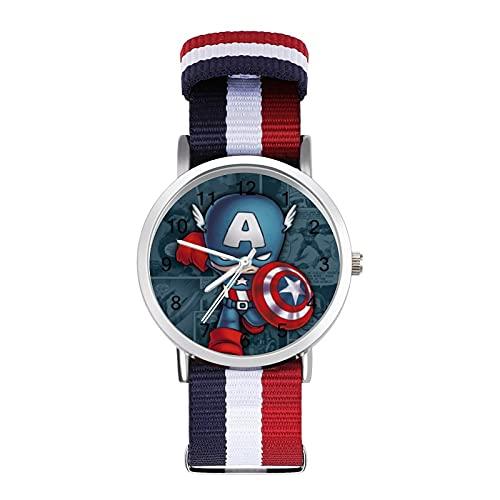 Los relojes Capitán Hero America son impermeables, versátiles, informales, estudiantes, hombres, mujeres, deportes, moda y temperamento simple anime dibujos animados