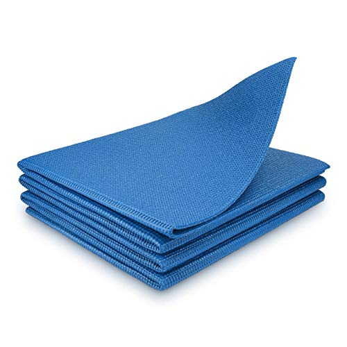 Travel Yoga Mat, Foldable Thin Light Mats for Travelling, Folding Pad for All Types Floor Workouts, Yoga, Pilates, Exercise Fitness Dancing (68' L x 24' W x 4mm Thick, Blue)