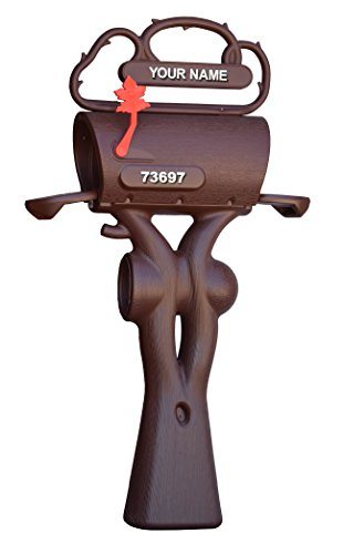 Double Wall Plastic Rural Rustic Large Capacity Mailbox Brown Post Mount
