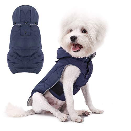 Voopet - Chaqueta para perro, abrigo para perros cálido, de invierno. Forro polar suave, reflectante a prueba de viento y a prueba de nieve, chaleco acolchado para perros pequeños y medianos