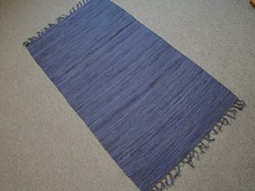 Garmisch handweb provenienti da India Tappeto 170x 120cm TINTA UNITA BLU BLUE 100% cotone tessuto a mano