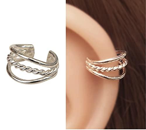 Triple Band Single Small Ear Cuff Sterling Silver Handmade Non-Pierced Ear Wrap, Cartilage Earrings for women