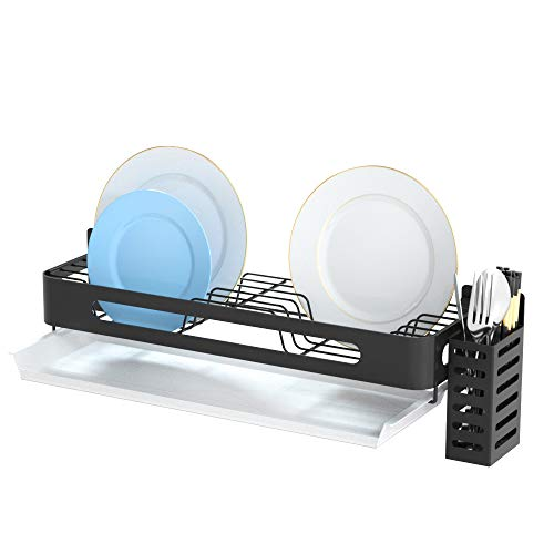 Mounted Wall Dish Drying Rack Hanging Dishs Rack with Drain Board Stainless Steel Dish with Chopsticks for Kitchen Walls and Cabinet Sturdy Anti-Rust Black
