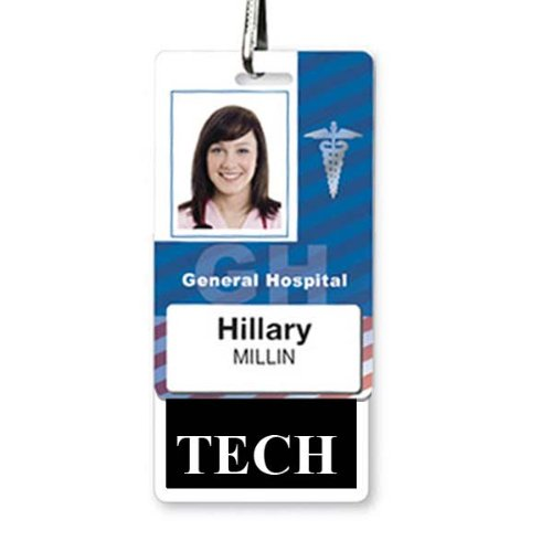 TECH Badge Buddy - Heavy Duty Vertical Badge Buddies for Technicians - Spill & Tear Proof Cards - 2 Sided USA Printed Quick Role Identifier ID Tag Backer by Specialist ID