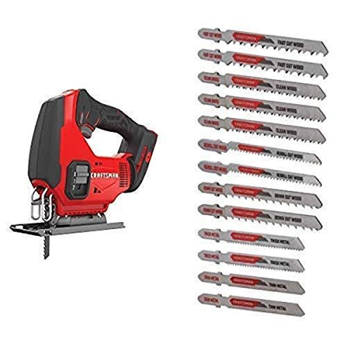 CRAFTSMAN V20 Cordless Jig Saw, Tool Only with Jigsaw Blades, T-Shank Set, 13-Piece (CMCS600B & CMAJ1SET13)