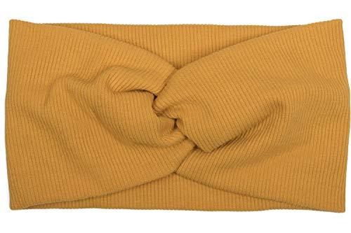 styleBREAKER Damen Haarband in Feinripp Optik mit Schleife, Twist Knoten, Stirnband, Headband 04026009, Farbe:Senf