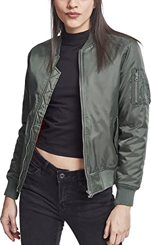 Urban Classics Ladies Basic Bomber Jacket Chaqueta, Verde-Verde (Oliva 176), 40 (tamaño del Fabricante: L) para Mujer