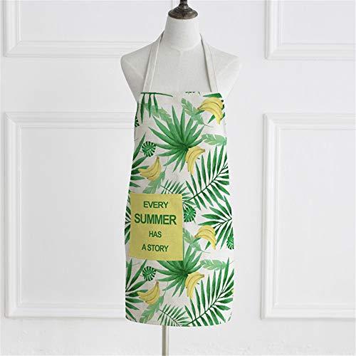 YXDZ Verano Fruta IKEA Pareja Tela Sin Mangas Hogar Cocina Hornear Delantal Cocinar Hombres Y Mujeres Cintura Chef Cubrir Banana
