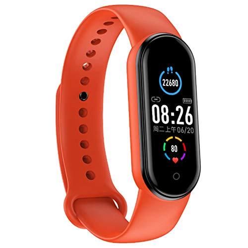 Wsaman Actividad Tracker Smartwatch Impermeable IP68 Pulsera Deportivos Fitness Tracker Cardíaco Podómetro Contador de Calorías, con Pantalla Táctil para Android/iOS/Hombre/Mujer,Naranja