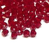 Juego de 40 perlas de cristal bohemias, 4 mm, doble cono, perlas checas, perlas de cristal, cuentas de cristal, bicone, selección de colores, cristal, rojo rubí