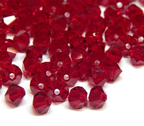 40stk Preciosa Böhmische Kristallperlen 4mm Doppelkegel Tschechische Perlen Glasschliffperlen Glasperlen, Bicone Beads, Farbauswahl (Ruby)
