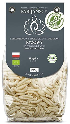 Glutenfreie gedrehte Nudeln (aus weißem Reis) BIO 225 g - FABIJAŃSCY