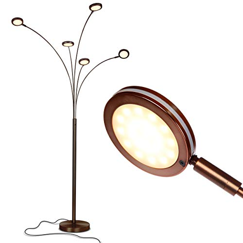 Brightech Orion - Super Bright, Modern LED Arc Lamp - 5 Adjustable Arms & Light Heads Arch Over The Couch - Standing Tree Lamp for Living Rooms - Bright Hanging Lighting - Oil Rubbed Bronze