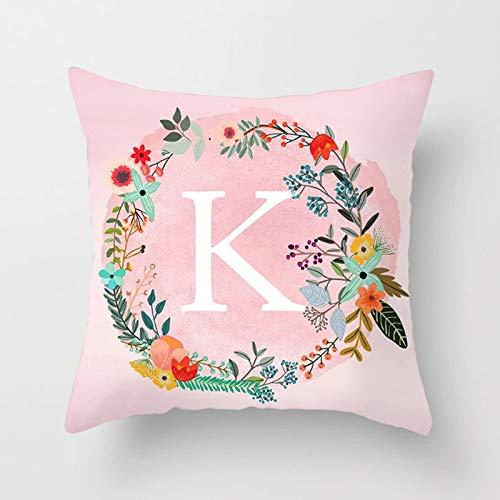 KnBoB Funda de Almohada Guirnalda Letra Inglesa K Poliéster Rosa 40 x 40 cm Estilo 3
