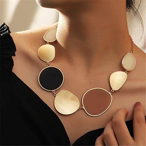 EMFGJ Statement Enamel Choker Gold Fashionable Punk Necklace Large Bib Choker Collar Clavicle Chain Jewellery Gift for Women Girls