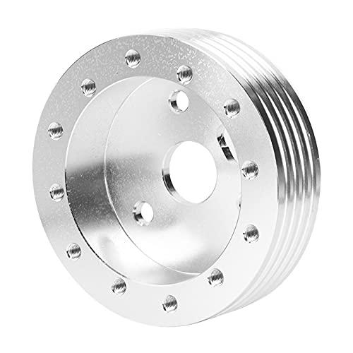 Accesorio de vehículo Espaciador de cubo de volante de aluminio a adaptador de 3 orificios para 5 ruedas de 6 orificios(Silver)