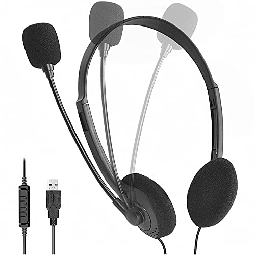 USB Headset,PC-headsets,Headset mit Mikrofon,Gaming Headset,Kabelgebundenes Headset Noise-Cancelling Lautstärkeregler für Webinar Homeoffice Gaming e-Learning und Musik