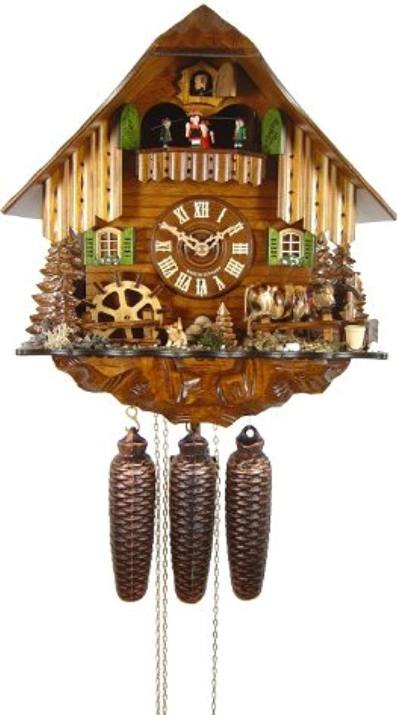 Isdd Cuckoo Clock–Uhr CUCú, Motiv Kuh im Gras,-Rad Windmühle