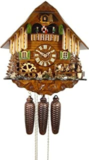 Authentic Cuckoo Clock Black Forest House with Cow and Mill Wheel 8-Day Movement with Music