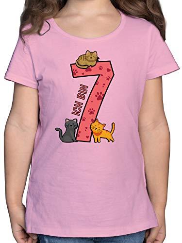 Geburtstag Kind - 7. Geburtstag Katzen - 128 (7/8 Jahre) - Rosa - F131K - Mädchen Kinder T-Shirt