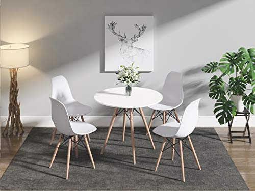 Dining Table and Chairs Set of 4, 80cm Solid Wooden Round Table with Metal Legs and 4 White Chairs, Dining Room Furniture Set for Home, Office, Kitchen, Balcony, Garden