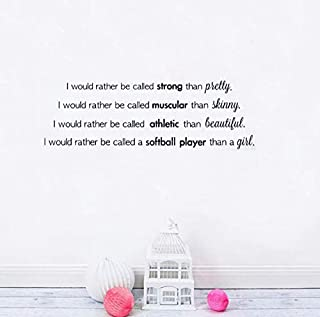 Gabriel Bloor Softball Player Wall Stickers Quotes Girl Strong Muscular Athletic Phrase Wall Decal Soccer Vinyl Wallpaper Bedroom Decor 93x30cm