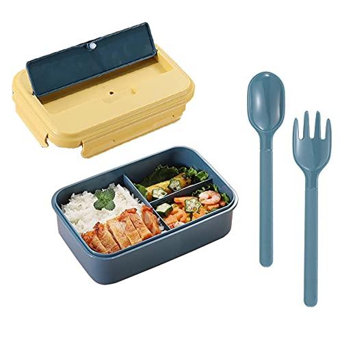 Amindz Lunch Box Infantil,Food Box con 3 Compartimentos y Juego de Cubiertos,Plástico...