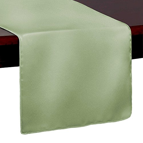 Ultimate Textile Satin 14 x 72-Inch Table Runner Sage Green