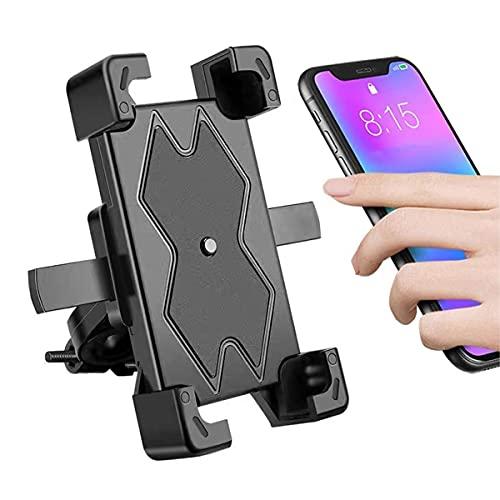 Soporte Movil Bicicleta Desmontable, 360° Rotación Soporte Movil Moto, Universal Anti Vibración Soporte Movil Bici para Phone, Samsung, Huawei Phone, 4.5-6.3' Móvil