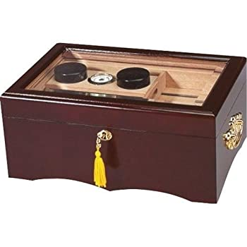 Quality Importers El Rey Desktop Cigar Humidor Mahogany Finish Spanish Cedar Tray & Divider 2 Humidifiers Glass Hygrometer Gold-Plated Lock and Key with Tassel Brown