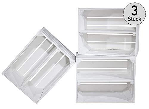 """3er Set weiße Kiste für Schuh-und Bücherregal\""""Längs\"""" - Kistenregal Regalkiste Regal Schuhregal Bücherregal Obstkistenregal - Mittelbrett Einlegeboden Zwischenbrett 50x40x30 cm"""