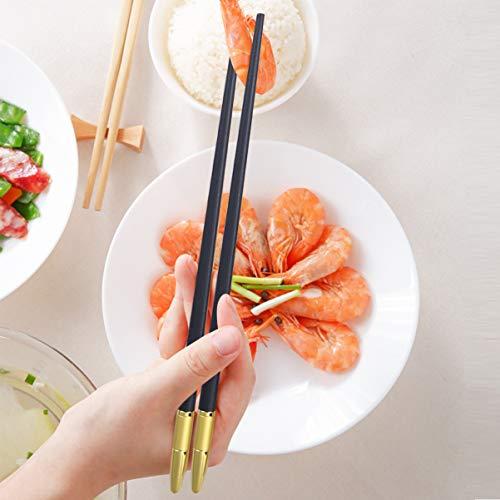 Yardweグラスファイバー箸金属再利用可能な箸食器洗い機セーフ日本寿司箸家庭用食器食器ホテル(ブラックゴールデン)