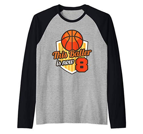 8th Basketball Birthday Art This Baller is 8 Raglan