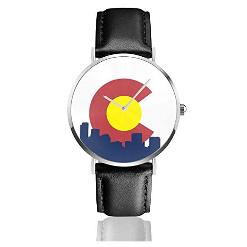Men's Fashion Minimalist Wrist Watch Quartz Wrist Watch Colorado Denver Skyline Leather Strap Watch