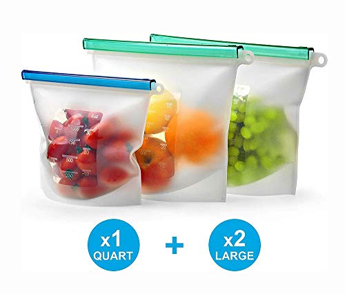 STARAYS Silicone food bags, 3 reusable snack sandwich ziplock bags, leak-proof food freezer bags, family travel camping