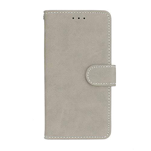 Sangrl Lederhülle Schutzhülle Für Asus ZenFone 2 ZE551ML / ZE550ML (5.5Zoll), PU-Leder Klassisches Design Wallet Handyhülle, Mit Halterungsfunktion Kartenfächer Flip Hülle Grau