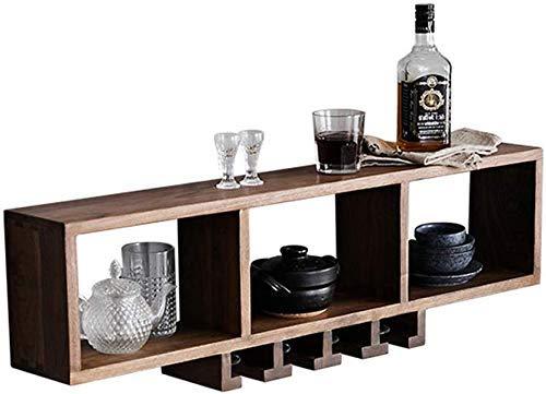 BXU-BG Estante de pared para botellas de vino y copas de vino, estante de almacenamiento colgante para sala de estar, cocina, bar/restaurante – 90 cm