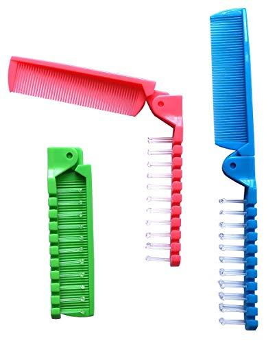 Fontee® 3 piezas pequeño plegable cepillo de pelo, cepillo de pelo viajes, cepillo para la cabeza de masaje y peine de dientes finos, bolsillo para niños y adultos, 3 colores