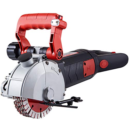 """VEVOR 4800W Wall Chaser 42 mm Cutting Width,Wall Groove Cutting Machine 41MM Cutting Depth,Wall Slotting Machine With 8 Saw Blades 5"""" Diameter 6200r/Min,One-time Forming Dustless"""
